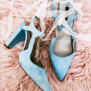 Zara basic collection blue suede heels size 41